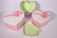 Набор подарочных коробок из 3шт- Сердце - белая крышка