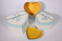 Набор подарочных коробок из 3шт- Сердце - бело/голубое 24*19*13см