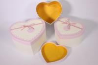 Набор подарочных коробок из 3шт- Сердце - бело/розовое 24*19*13см