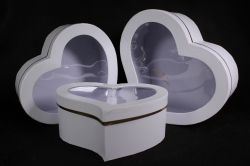 Набор подарочных коробок из 3шт - Сердце белое