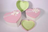 Набор подарочных коробок из 3шт- Сердце - розовая крышка