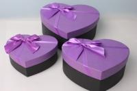 Набор подарочных коробок из 3шт. - Сердце с бантом 22х18х9см  цвета в ассортименте