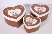 Набор подарочных коробок из 3шт- Сердце с котами - коричневое 24*19*13см