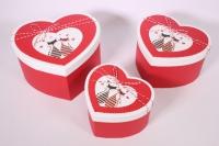 Набор подарочных коробок из 3шт- Сердце с котами - красное 24*19*13см