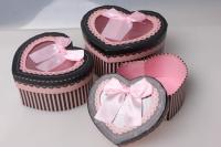 """Набор подарочных коробок из 3шт. """"Сердце с окном"""" 37151"""