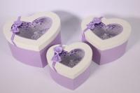 Набор подарочных коробок из 3шт- Сердце с окном - белая крышка