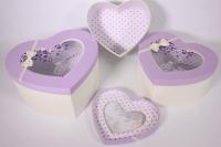 Набор подарочных коробок из 3шт- Сердце с окном - сиреневая крышка