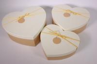 Набор подарочных коробок из 3шт - Сердце- шампань крышка
