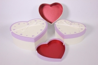 Набор подарочных коробок из 3шт - Сердце текстурное - белая крышка