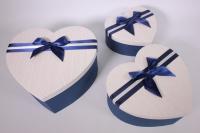 Набор подарочных коробок из 3шт- Сердце текстурное -синее