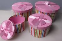 """Набор подарочных коробок из 4шт. """"Цилиндр, розовая с полосочками"""" 37150"""