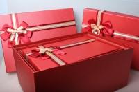 """Набор подарочных коробок из 5шт. Разноразмерные. """"Прямоугольные однотонные с бантом""""  44х31х20см К253 цвета и рисунки в ассортименте"""