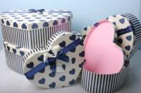Набор подарочных коробок из 5шт. Разноразмерные. Сердце  42х30х13см цвета и рисунки в ассортименте