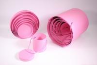 Набор подарочных коробок из 7шт (Цилиндр для цветов с ручкой) - Розовый