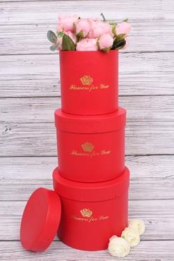 Набор подарочных коробок из 3-х шт - Цилиндр с розой красный d=13.5, h=15