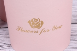 Набор подарочных коробок из 3-х шт - Цилиндр с розой розовый d=13.5, h=15