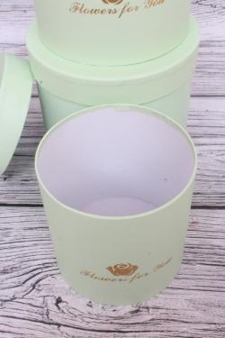 Набор подарочных коробок из 3-х шт - Цилиндр с розой салатовый d=13.5, h=15