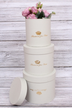 Набор подарочных коробок из 3-х шт - Цилиндр с розой серый d=13.5, h=15
