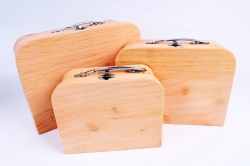 Набор подарочных коробок из 3шт - Чемодан дерево