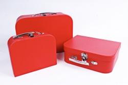 Набор подарочных коробок из 3шт - Чемодан однотонный красный  К803