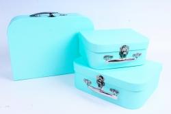 Набор подарочных коробок из 3шт - Чемодан однотонный мятный  К803