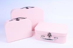 Набор подарочных коробок из 3шт - Чемодан однотонный розовый  К803