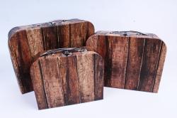 Набор подарочных коробок из 3шт - Чемодан паркет