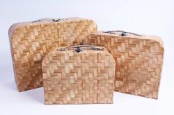 Набор подарочных коробок из 3шт - Чемодан плетенка