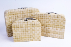 Набор подарочных коробок из 3шт - Чемодан рогожка