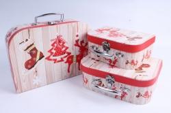 Набор подарочных коробок из 3шт - Чемоданчик НГ Ёлка, Олень, Носок SY8024-1603NG