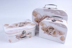 Набор подарочных коробок из 3шт - Чемоданчик НГ Ёлка, Звезда на белом SY8024-1619NG