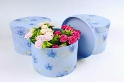 Набор подарочных коробок из 3шт - Цилиндр анемона голубой   К849