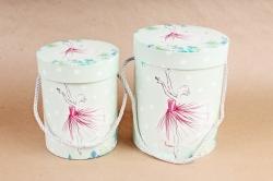 Набор подарочных коробок (из 2шт) - Цилиндр Балерина салатовый    К798