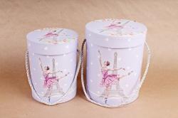 Набор подарочных коробок (из 2шт) - Цилиндр Балерина сиреневый  К799