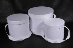 Набор подарочных коробок из 3шт - Цилиндр белый   В75