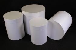 Набор подарочных коробок из 4шт - Цилиндр Белый Жемчуг  Пин84КБЖ