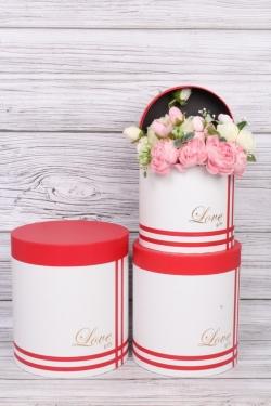 """Набор подарочных коробок из 3шт - Цилиндр """"Четыре полоски"""" красный 21,5х23,7 см  2852М"""