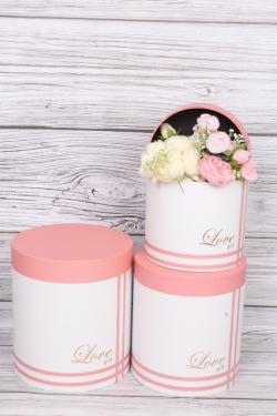 """Набор подарочных коробок из 3шт - Цилиндр """"Четыре полоски"""" розовый  21,5х23,7 см  2838М"""
