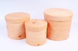 Набор подарочных коробок из 3шт - Цилиндр дерево