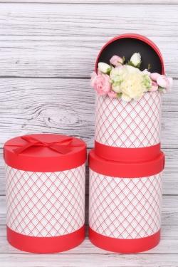 """Набор подарочных коробок из 3шт - Цилиндр """"Элегантная геометрия"""" красный  21,5х25,7 см"""