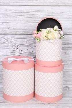 """Набор подарочных коробок из 3шт - Цилиндр """"Элегантная геометрия"""" розовый  21,5х25,7 см 5693М"""