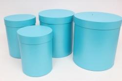 Набор подарочных коробок из 4шт - Цилиндр Голубой Перламутр d=23,h=25см  Пин84ГП