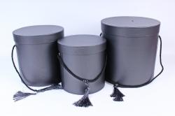 Набор подарочных коробок из 3шт - Цилиндр черный 3775 (Н)