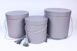 Набор подарочных коробок из 3шт - Цилиндр  серый 3812 (Н)