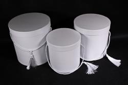 Набор подарочных коробок из 3шт - Цилиндр  белый 3782 (Н)