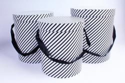 Набор подарочных коробок из 3шт - Цилиндр косая полоса черно/белый  S021