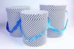 Набор подарочных коробок из 3шт - Цилиндр косая полоса сине/белый  S021