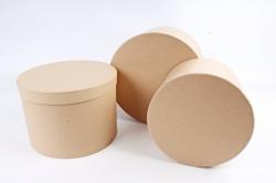 Набор подарочных коробок из 3шт - Цилиндр Крафт   М28