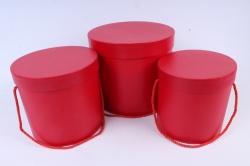 Набор подарочных коробок из 3шт - Цилиндр красный   В75