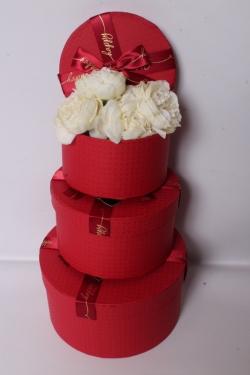 Набор подарочных коробок из 3шт - Цилиндр Красный h=20,d=11cм  80303-071